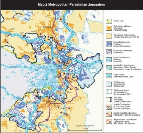 Peta yang menunjukkan perluasan pemukiman Yahudi di Al-Quds Timur (gambar: PBB)