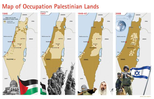 Peta proses perampokan tanah waqaf milik umat Islam dari Khalifha Umar bin Khattab, yang sejak 1948 dirampok oleh zionis Yahudi dan dinamai negara palsu 'israel'. foto: Human Being First