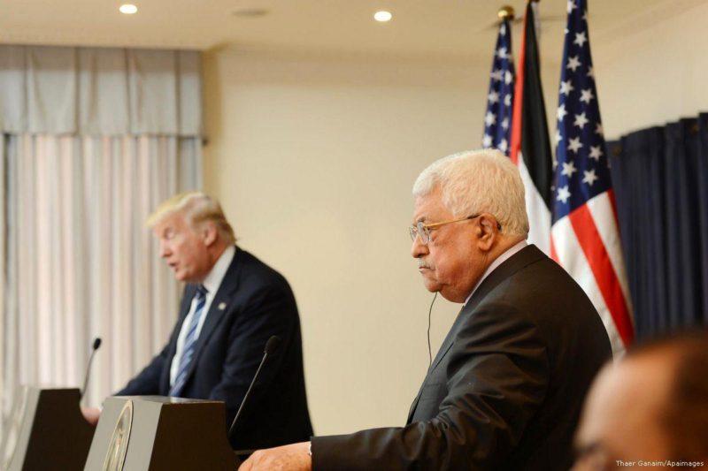 Presiden Otoritas Palestina Mahmoud Abbas bertemu dengan Presiden AS Donald Trump di Kota New York, AS, pada 19 September 2017. Foto: Thaer Ghanaim/Apaimages