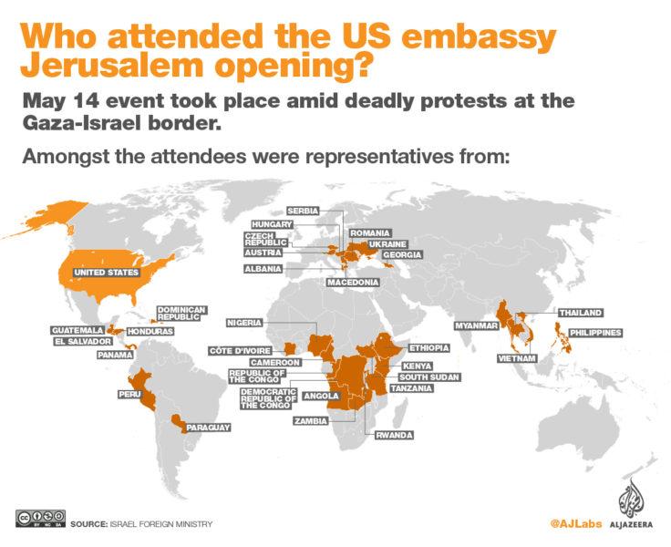 Negara yg Hadir di Pembukaan Kedubes AS (15 Mei 2018) - Peta