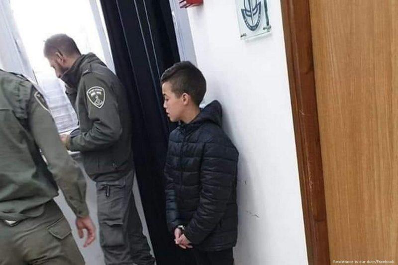 Bocah Palestina berusia 13 tahun, Adam Abu Ryalah, ditahan setelah gerombolan serdadu Zionis menangkapnya pada 10 Februari 2019. Foto: Resistance is our duty/Facebook