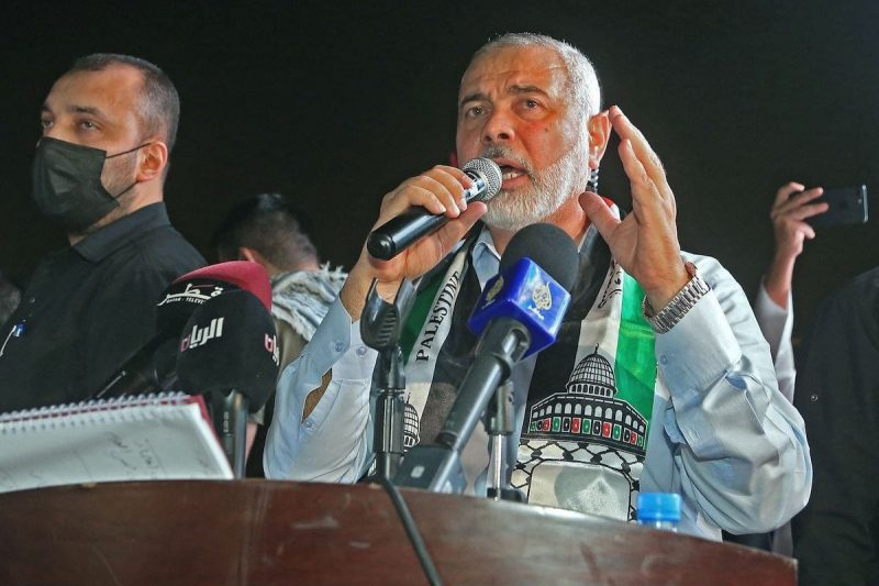 Kepala biro politik Hamas Ismail Haniyyah di ibu kota Qatar, Doha, pada 15 Mei 2021. [KARIM JAAFAR/AFP via Getty Images]